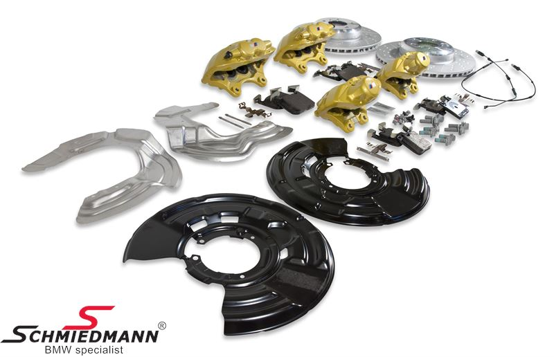 BMW performance big brake kit front+rear with yellow calipers, front 370X30MM