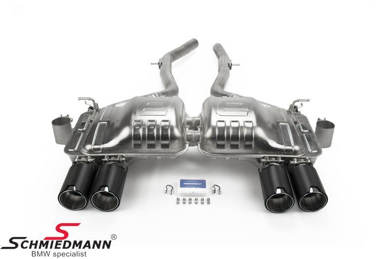 Eisenmann sportljuddämpare bak med svart  krome/brushed aluminium tips 4XØ90MM