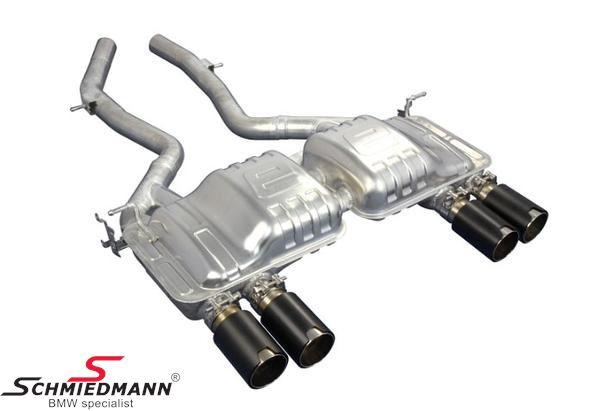 Eisenmann sportljuddämpare bak med svart  krome/brushed aluminium (Lemans slant cut) tips 4XØ90MM