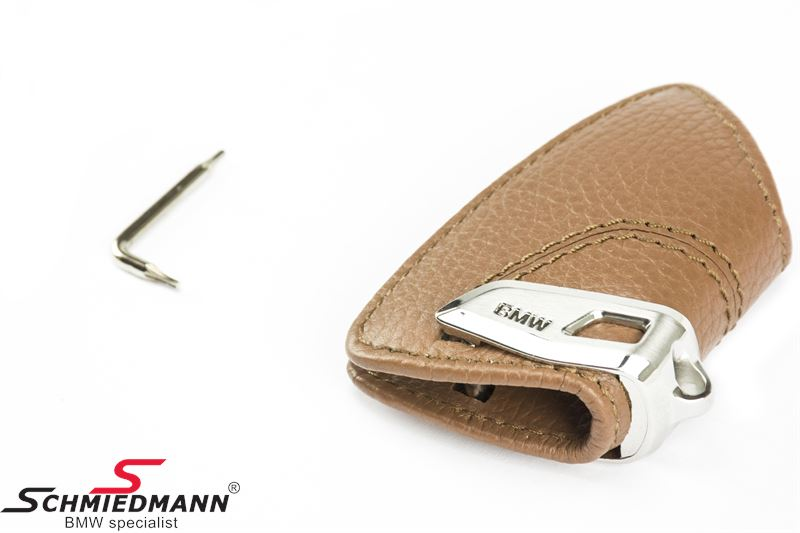 82 29 2 408 818 Key Case Sattelbraun With Stainless Steel