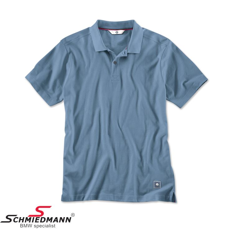 Poloshirt steel blue, men's - size S