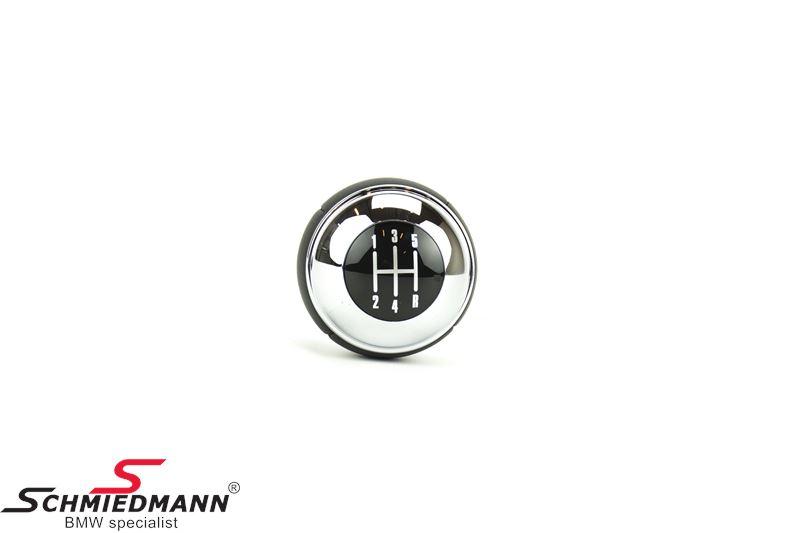 Gearknop standard sort læder/krom 5-gear