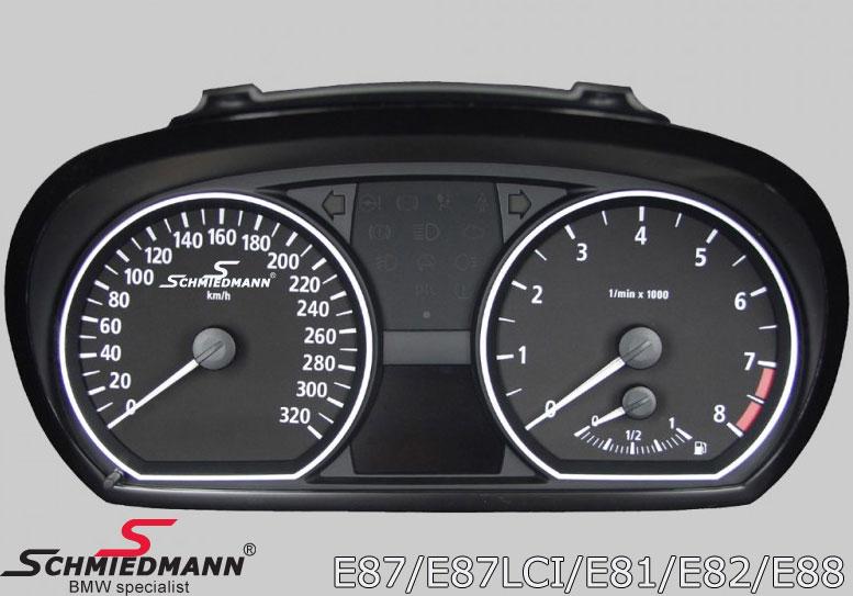 Schmiedmann instrument cluster 320Km/h conversion inclusive Schmiedmann logo