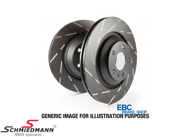 Racing brake discs front set 312x24MM ventilated slotted EBC Ultimax BlackDash