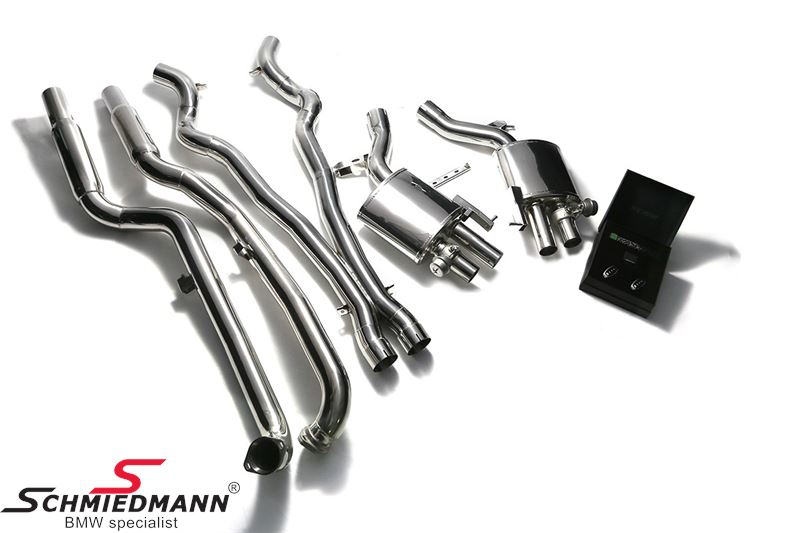 Armytrix valvetronic sport exhaust, stainless cat-back system, 4X89MM chrome silver tips