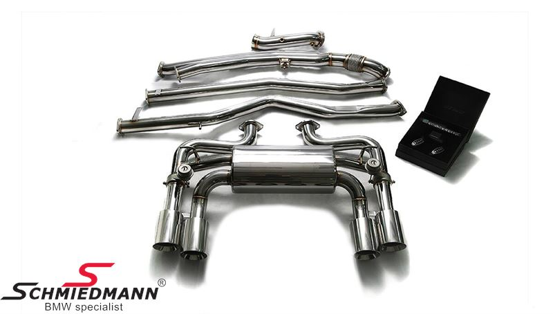 Armytrix valvetronic sport exhaust, stainless cat-back system, 4X101MM chrome silver tips
