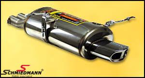 Sportsbagpotte rustfrit stål Supersprint med 1 X 145X75MM flad oval rørhale