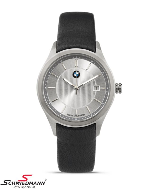BMW ladies wristwatch, silver with black leather strap - original BMW