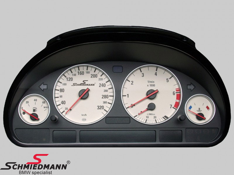 Schmiedmann instrument-kombi 320km/t. ombyg. inkl. farve-ændring/logo