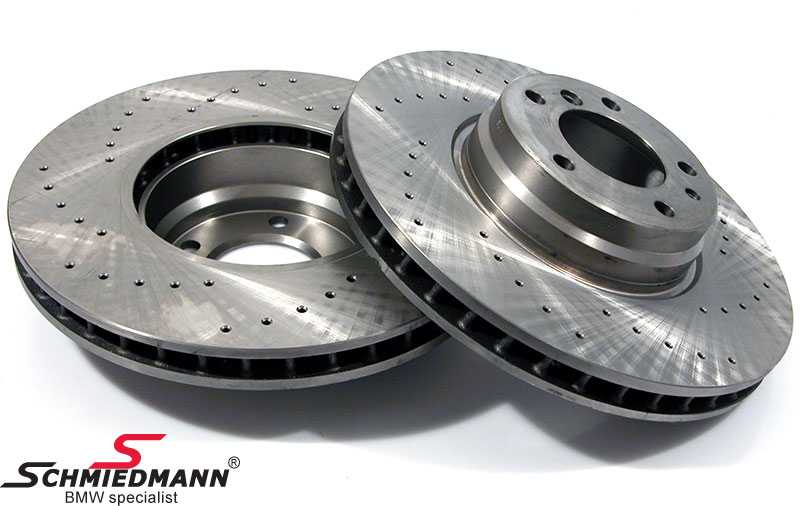 Racing brake discs front set 334x32MM ventilated with holes Zimmermann