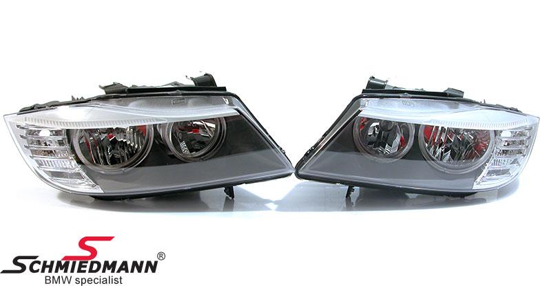 BMW 63122148267 / 63-12-2-148-267  Ajovalosarja facelift 2008LCI ilman xenon - angel eyes+valkoiset facelift look vilkut BMW alkuperäiset