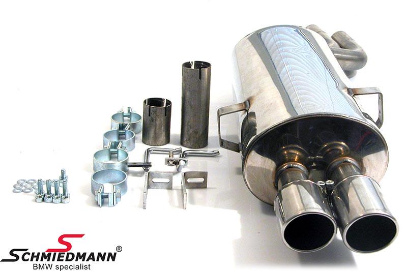 Schmiedmann rostfritt stål bakre ljuddämpare sport 2XØ76MM (med utbytbara slutrör)