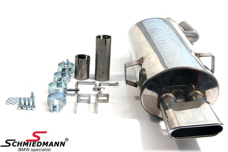 Schmiedmann rostfritt stål bakre ljuddämpare sport 1 X 140X60MM platt-ovalt slutrör (med utbytbara slutrör)
