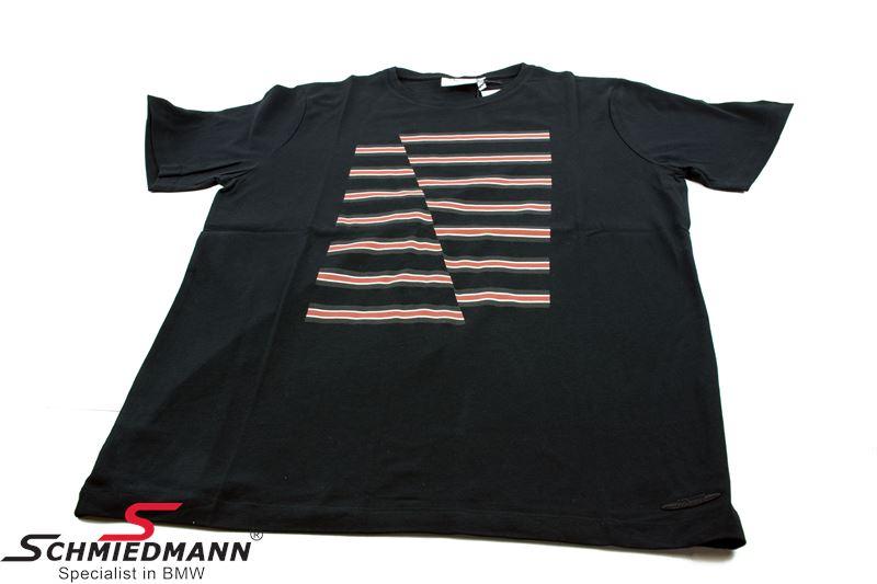 T-shirt -MINI- sort med røde vandrette striber, herre str. XL