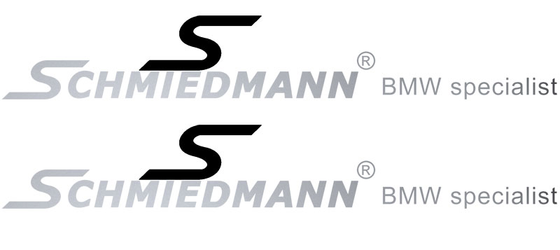 "Schmiedmann streamer for sideskirts black ""S"" and text silver lengte 60CM"