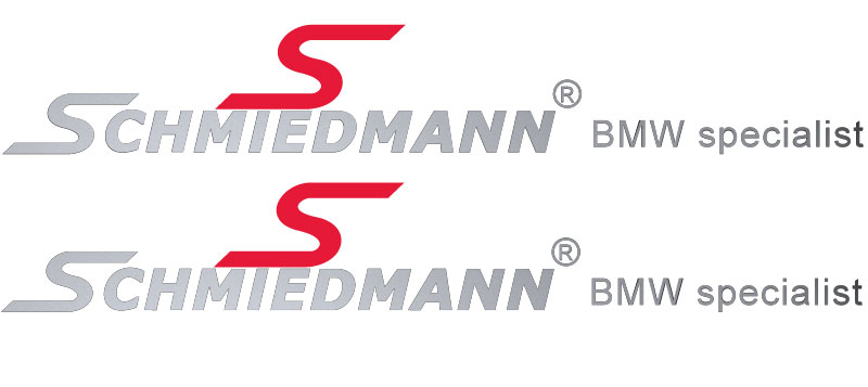 "Schmiedmann streamer for sideskirts red ""S"" and text silver lengte 60CM"