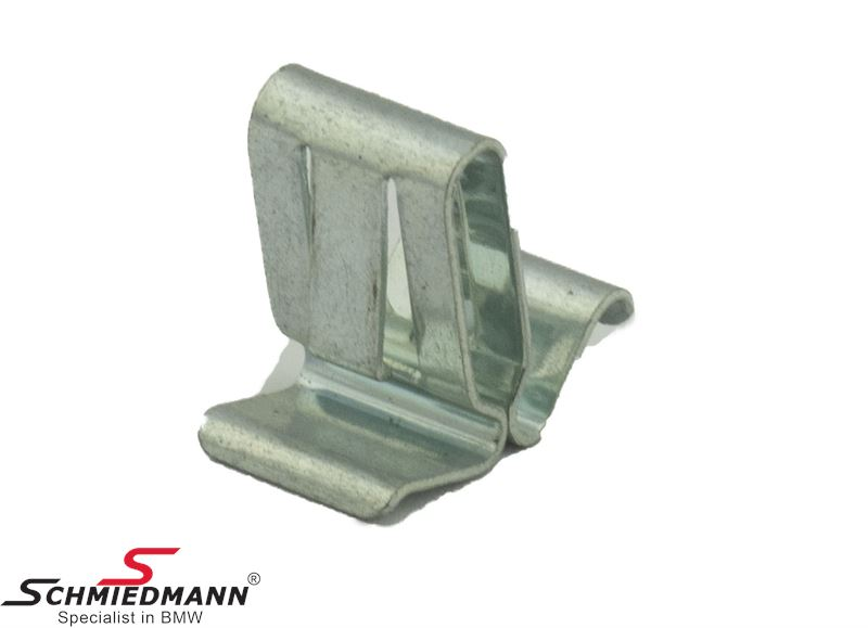 Clamp for moulding on front bumper