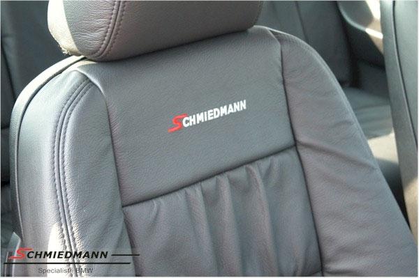 Læderindtræk org. Schmiedmann bi-colour sort/grå uden montering