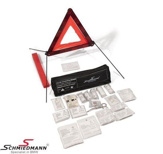 Schmiedmann first aid kit inclusive warning triangle universal in a black bag with Schmiedmann logo