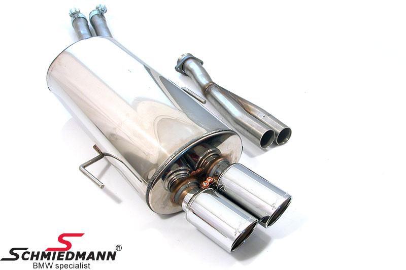 Schmiedmann rostfritt stål sport bakre ljuddämpare 2XØ76MM (med utbytbara slutrör)