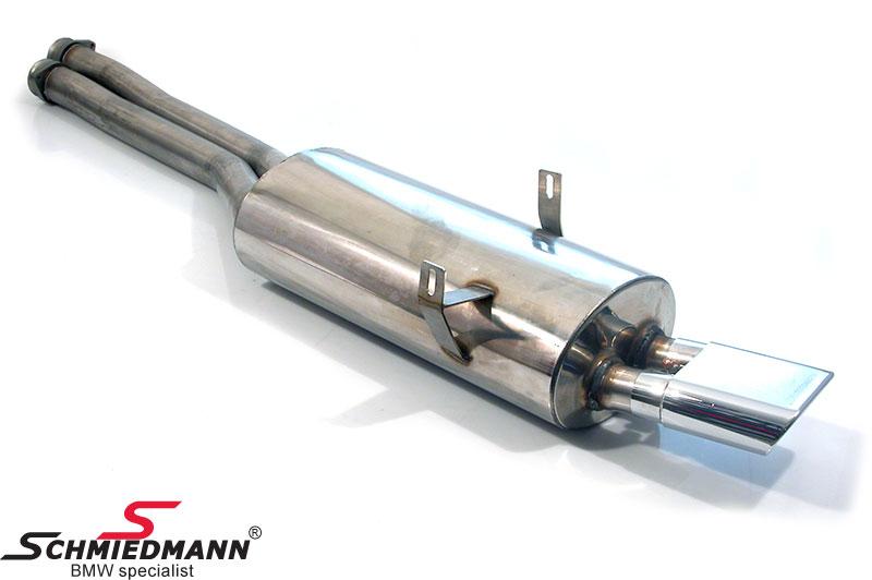 Schmiedmann rostfritt stål sport bakre ljuddämpare 1 X 140X60MM platt-ovalt slutrör (med utbytbara slutrör)