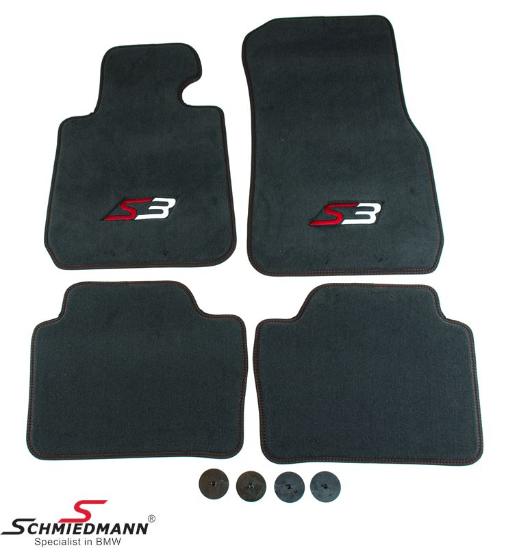 Floormats front/rear original Schmiedmann -S3- anthracite extra thick, with black Nubuk edging with red sewings