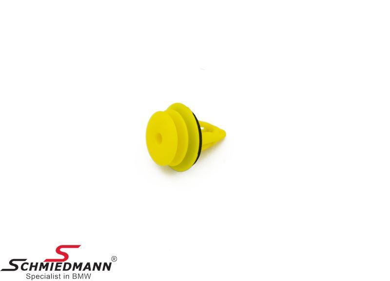 Clamp for door upholstery, yellow