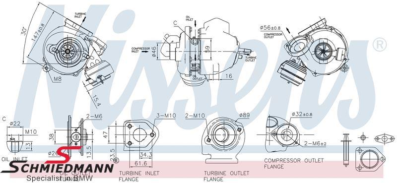 Turbolader, inklusiv paknings-sæt