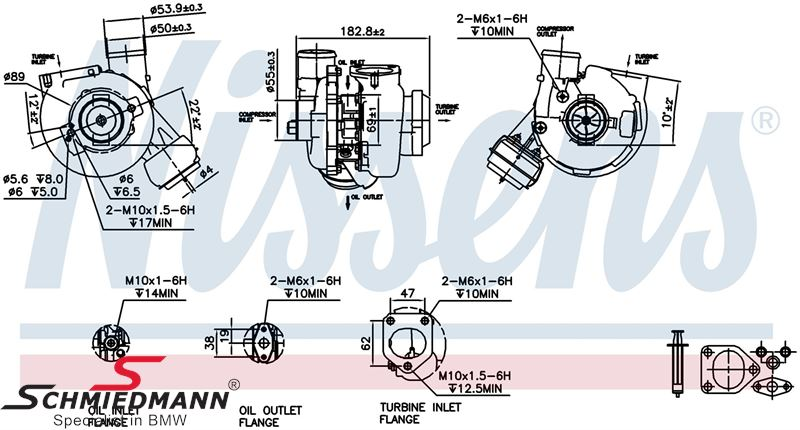 Turbolader inklusiv paknings-sæt