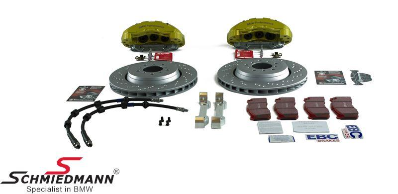 Schmiedmann -S-Tech.- Sportbremsanlage vorne 345X28MM mit 6 Kolben gelbe Bremssättel