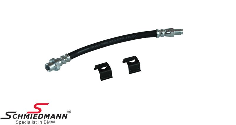 Brake hose rear -Schmiedmann HG High Grade- inclusive clips