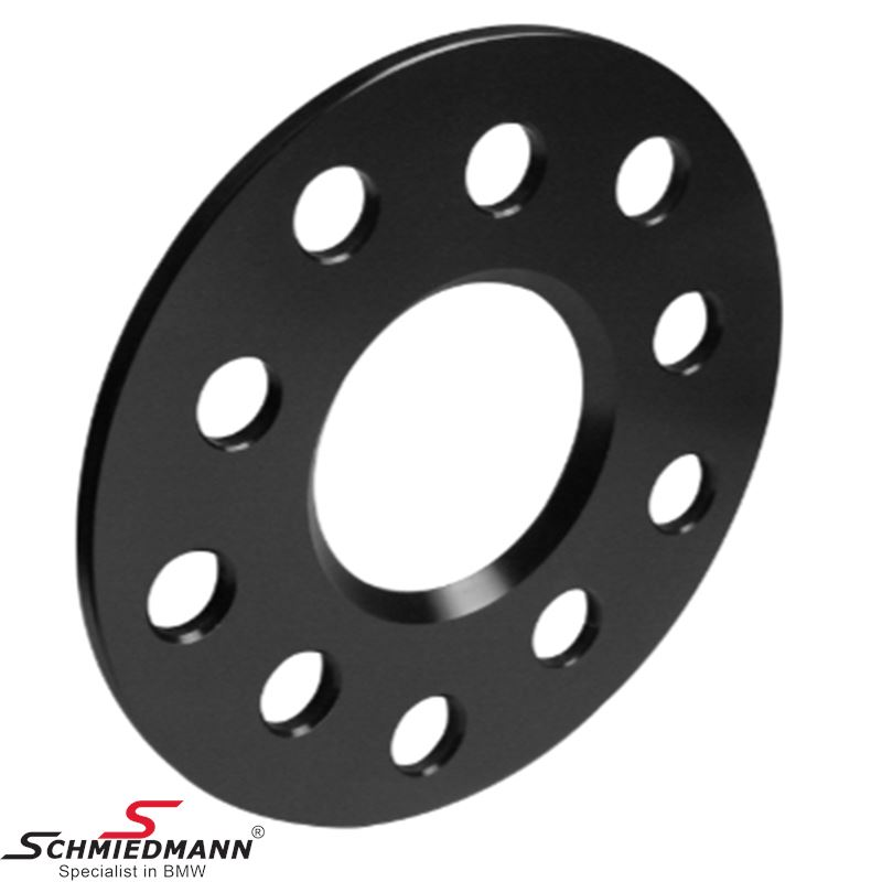 Wheel spacer set alloy black anodized (5X112 hub 66,6MM), Per axle 8MM (4MM each side/wheel), - system 5, supplied without bolts