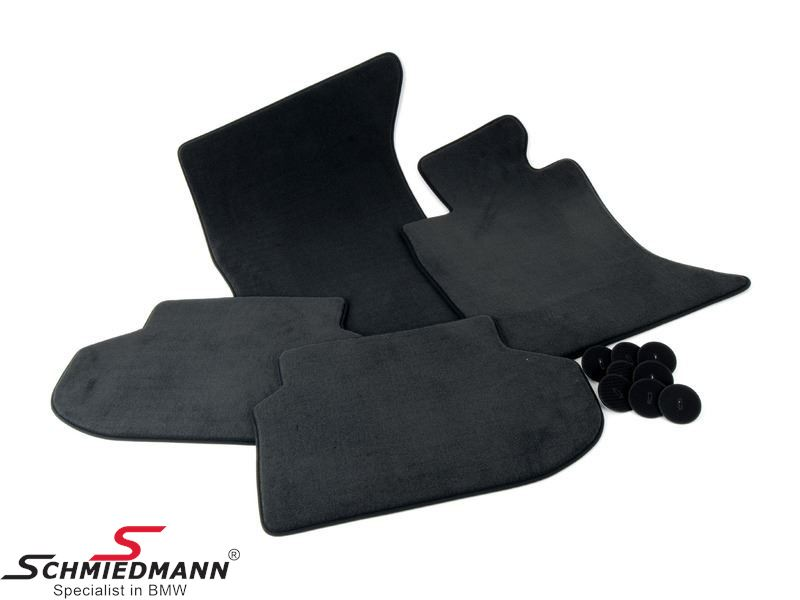 Floormats front/rear black velour original BMW