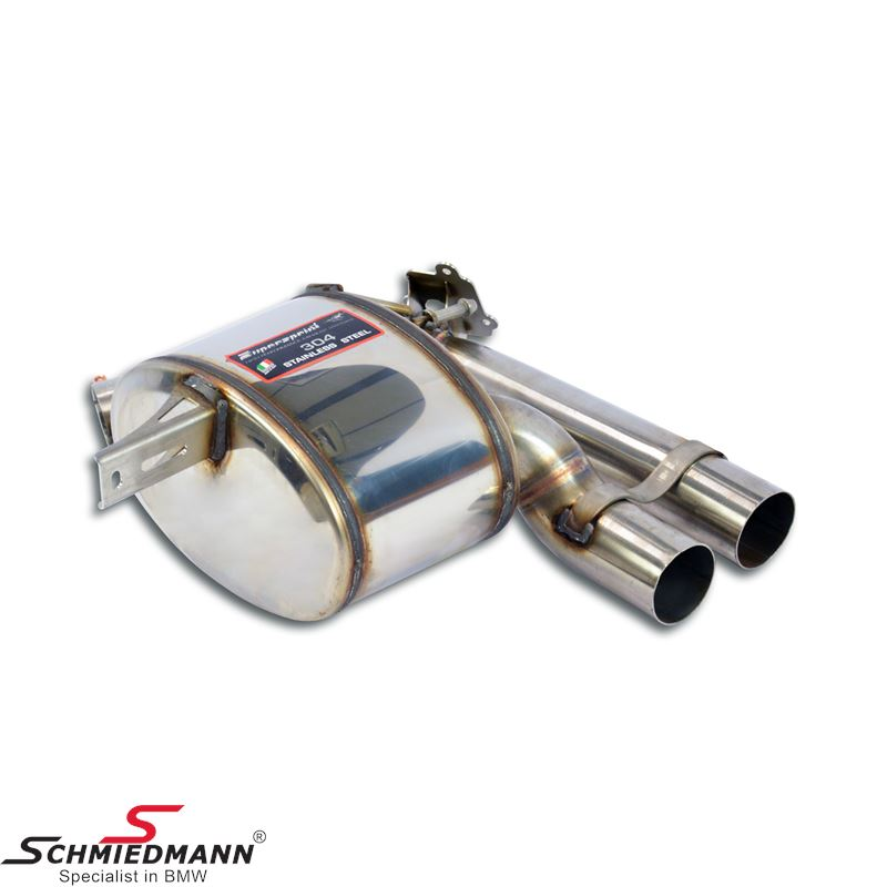 Supersprint sportsbagpotte -Dual sound- med klap, rustfrit stål H.-side (Rørhaler medfølger ikke, og skal tilkøbes separat)