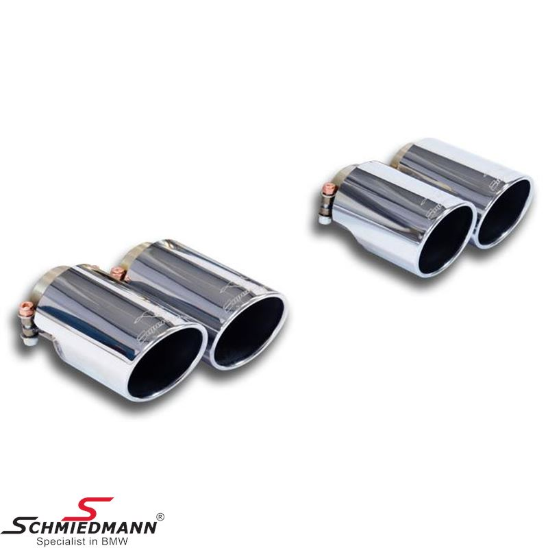 Supersprint slutrör  -Rolled Style- krome 4x90mm.