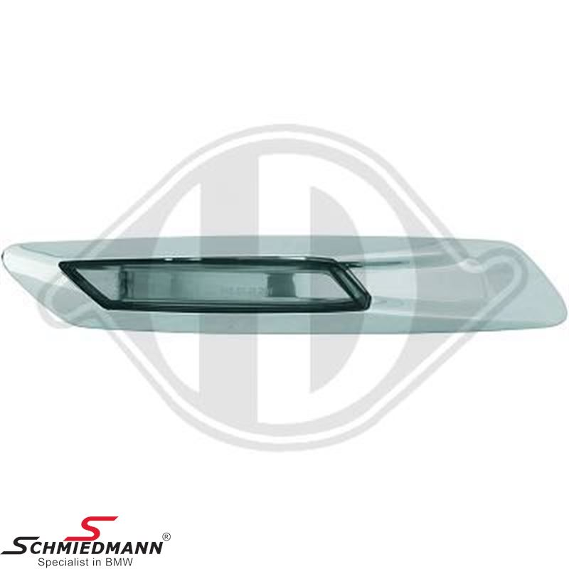 Sideindicator set clear glass chrome