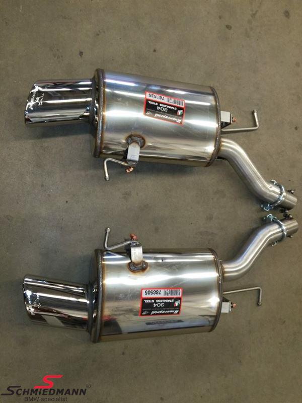 Sportsbagpotte sæt H.+V.-side rustfrit stål Supersprint med 2 X 120x80MM rørhaler