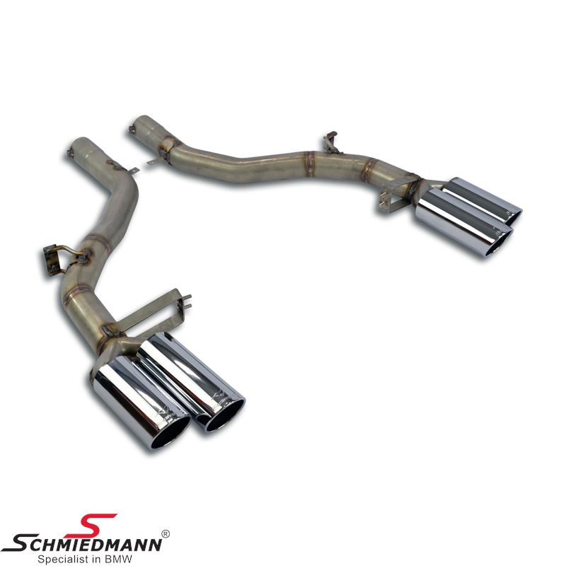 Supersprint sport rear silencer (Muffler delete) with round chrome tailpipes L.+R.-side D=Ø90MM
