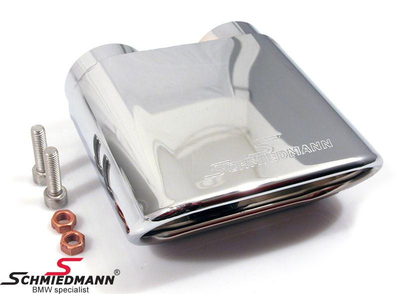 Schmiedmann Chrom Endrohr 140X60MM Flach ovales Endrohr