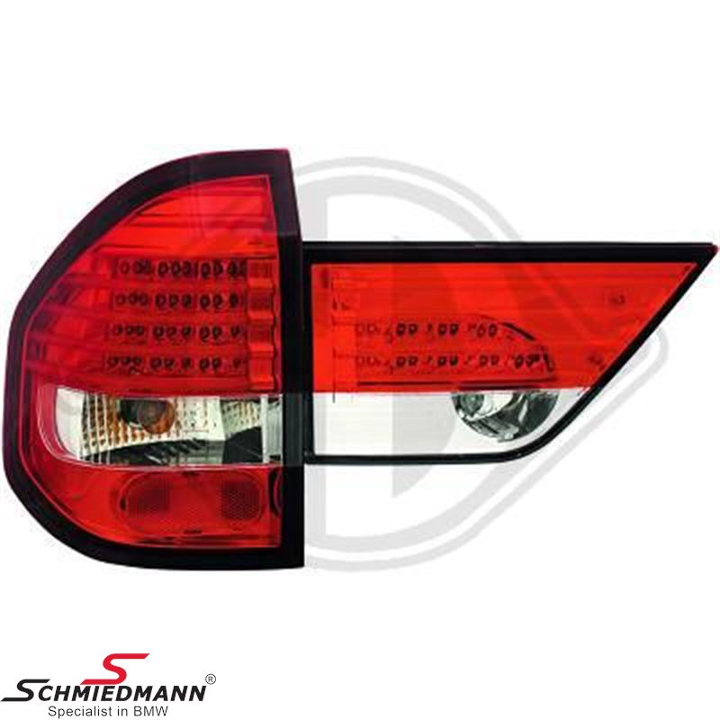 Baglygte-sæt LED klarglas rød/hvide
