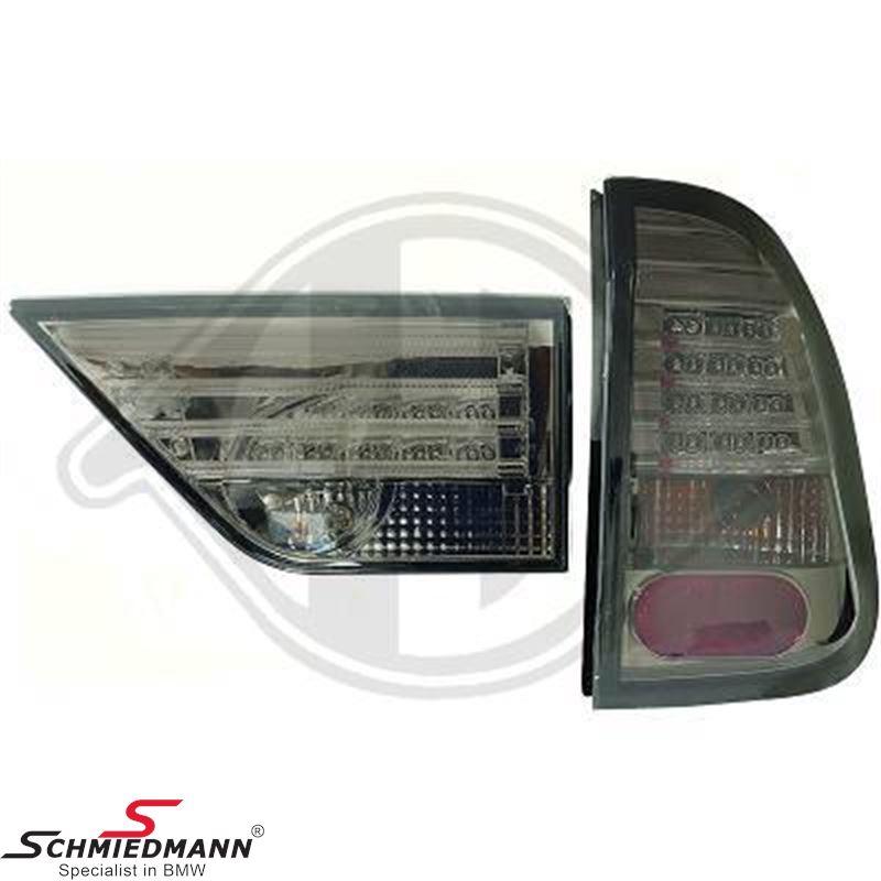 Baglygte-sæt LED klarglas røgfarvet