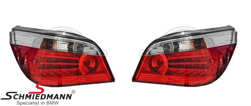 Baglygter facelift rød/krom LED, W16W, P21W