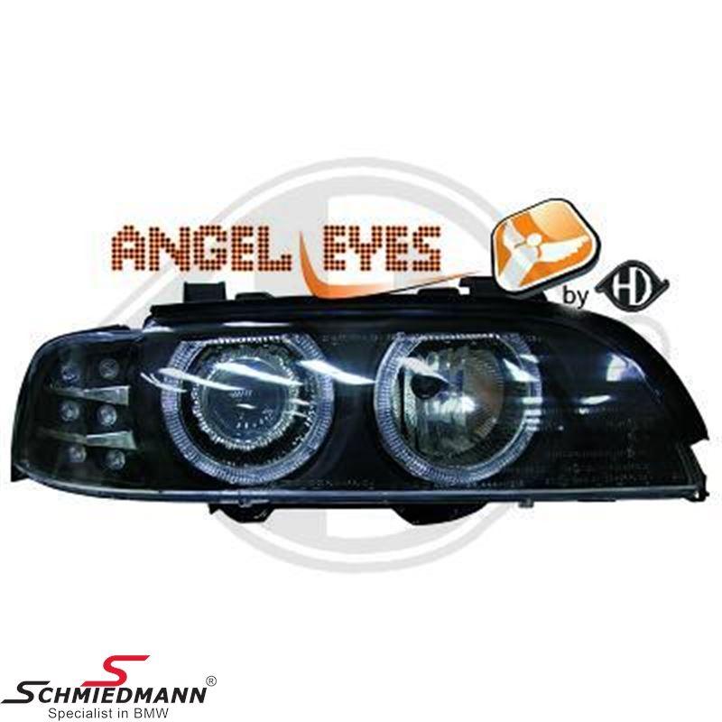 Forlygte sæt H7/H7 klarglas/sort, LED angel eyes ringe +LED blink