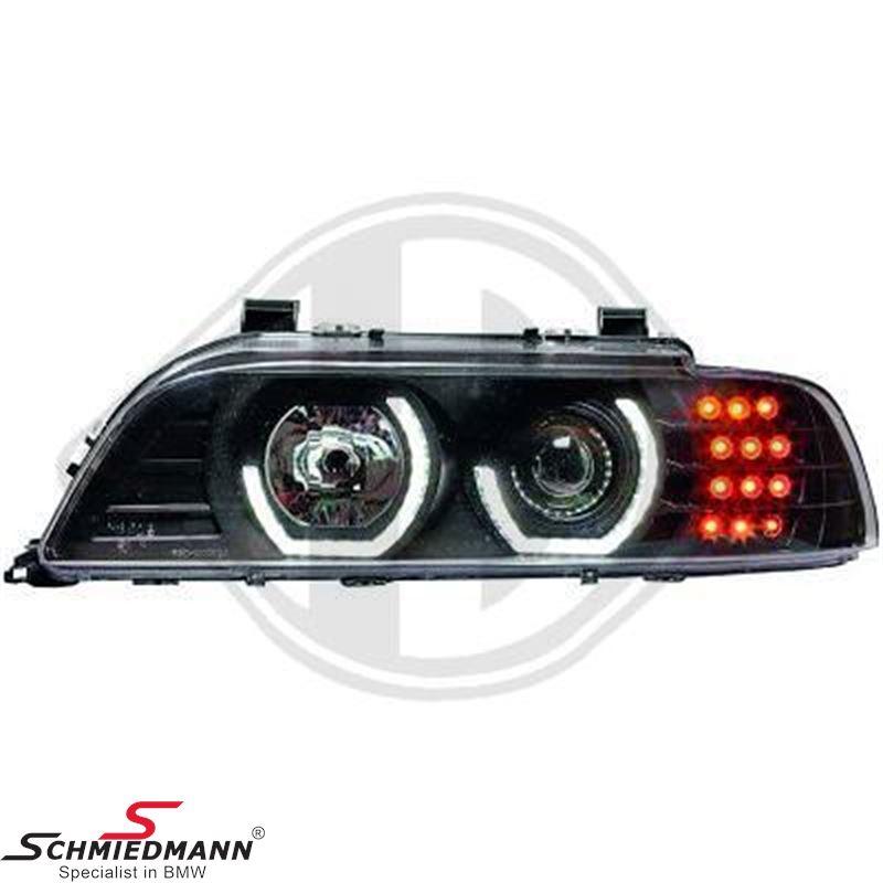 Forlygtesæt -3D design- H1/H7 klarglas/sort, LED angel eyes ringe +LED blink