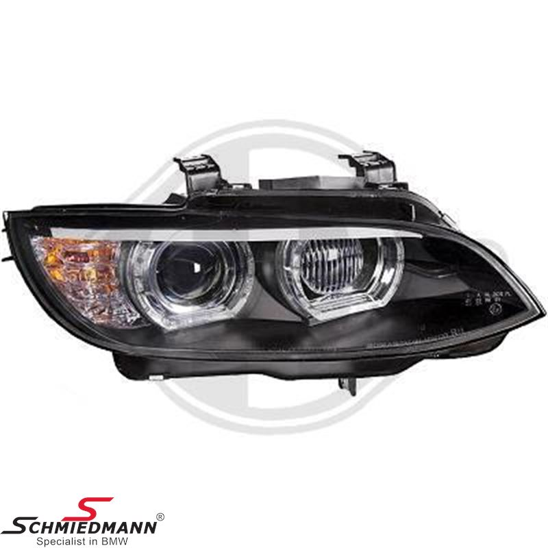 Headlight set -New Generation- clear/black xenon D1S/H3, with day driving light