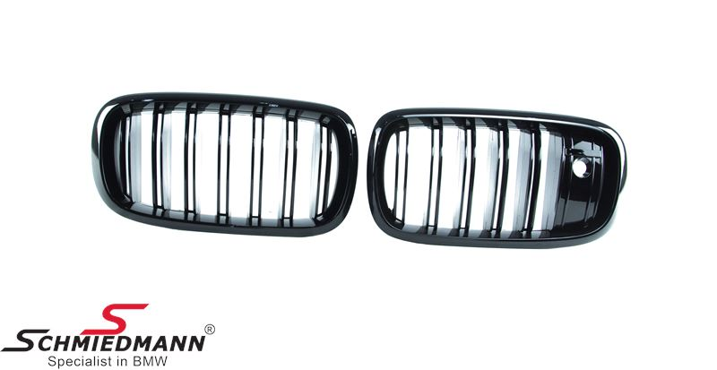 Kidney set high gloss black with double grill spokes