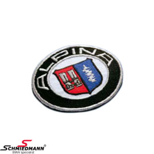 Fabric emblem round original Alpina 80MM for clothes/floormats etc.