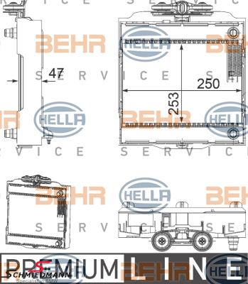 Supplementary radiator L.-side - original Hella Germany