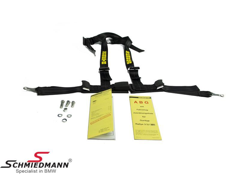 Racing 3 point restraints -Hosenträgergurt- Rallye 3 asm® original -Schrothgurt- black L.-side