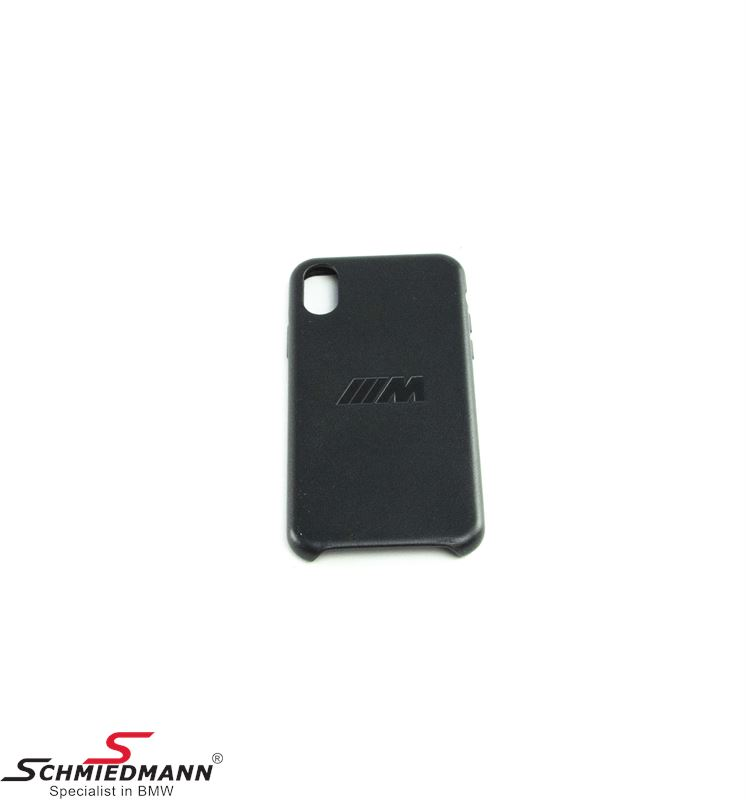 BMW ///M iPhone X mobile cover, black leather